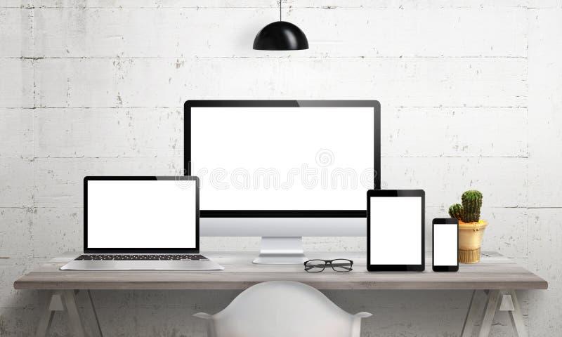 Entgegenkommende Geräte auf Schreibtisch mit lokalisiertem Schirm für Modell stock abbildung