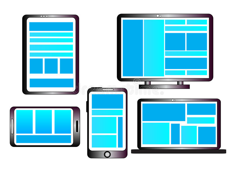 Entgegenkommende Web-Auslegung lizenzfreie abbildung