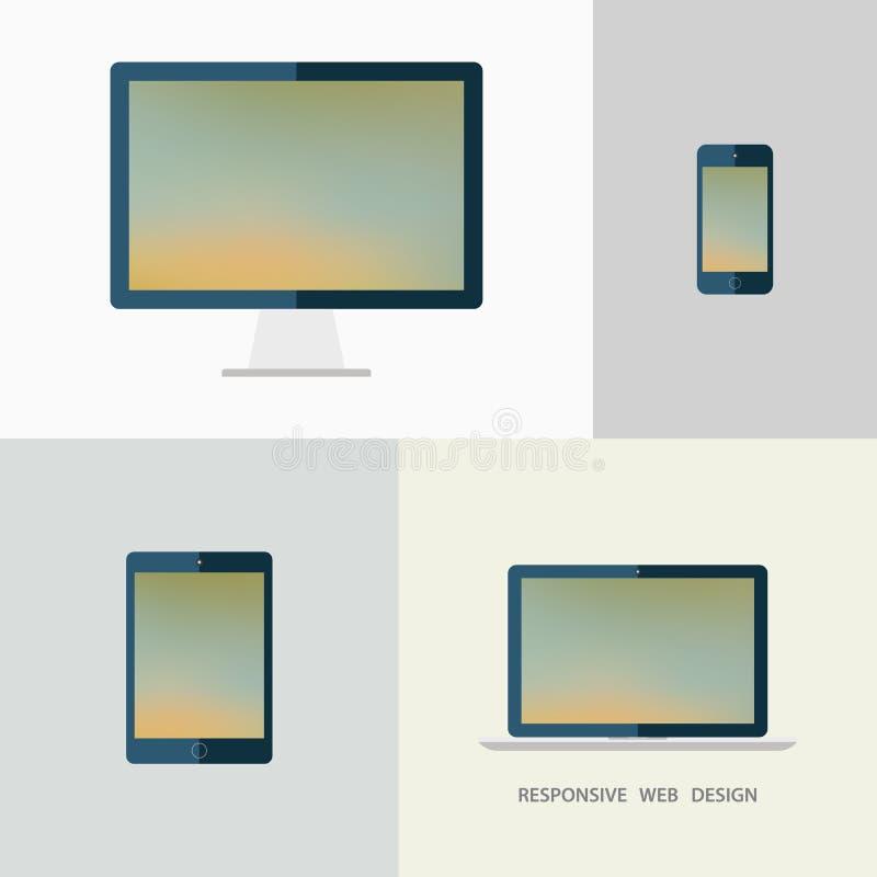 Entgegenkommende Web-Auslegung Tischplattenmonitor, Laptop, Tablette und Smartphone Unscharfer Hintergrund stock abbildung