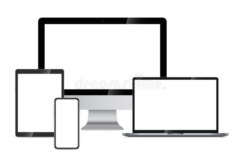 Entgegenkommende Webdesign-Darstellung auf Geräten lizenzfreie abbildung
