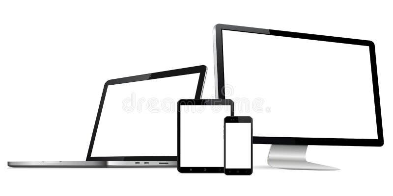 Entgegenkommende Webdesigncomputeranzeige mit Laptop- und Tabletten-PC mit dem Handy lokalisiert stockfotos