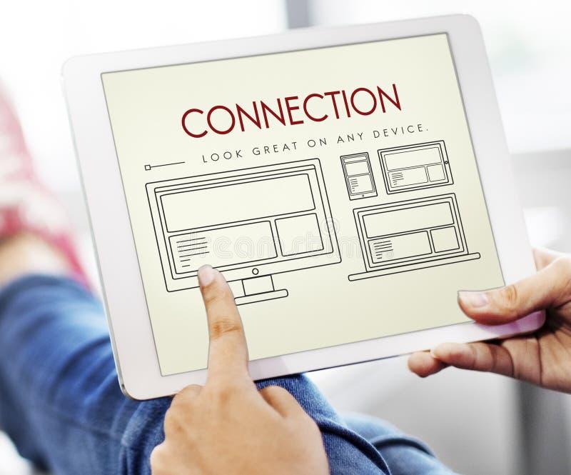 Entgegenkommendes Entwurf-Verbindungs-Inhalts-Konzept stockfoto