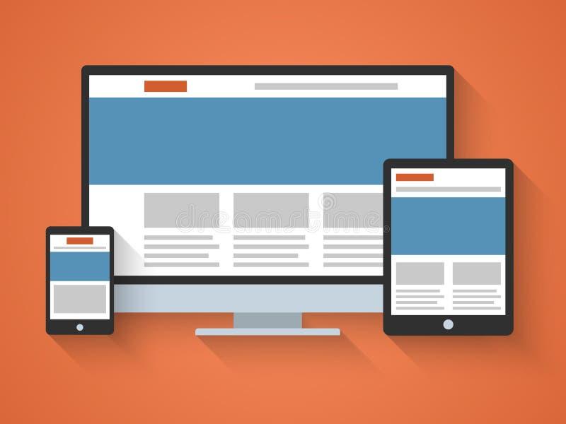 Entgegenkommendes Webdesign in der flachen Art. lizenzfreie abbildung