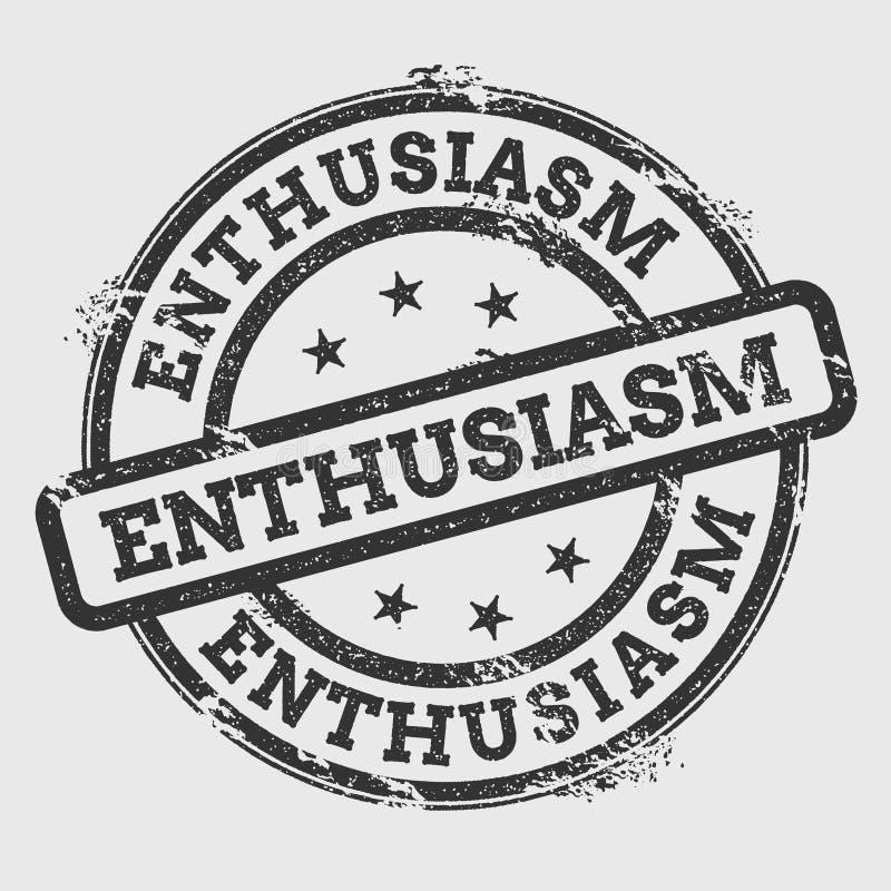 ENTHOUSIASME rubberdiezegel op wit wordt geïsoleerd royalty-vrije illustratie