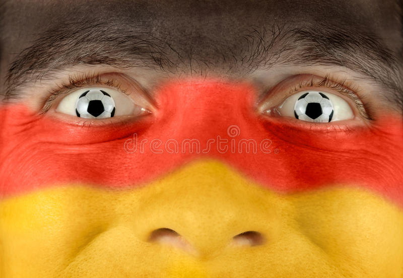 Enthousiaste Duitse voetbalventilator stock fotografie