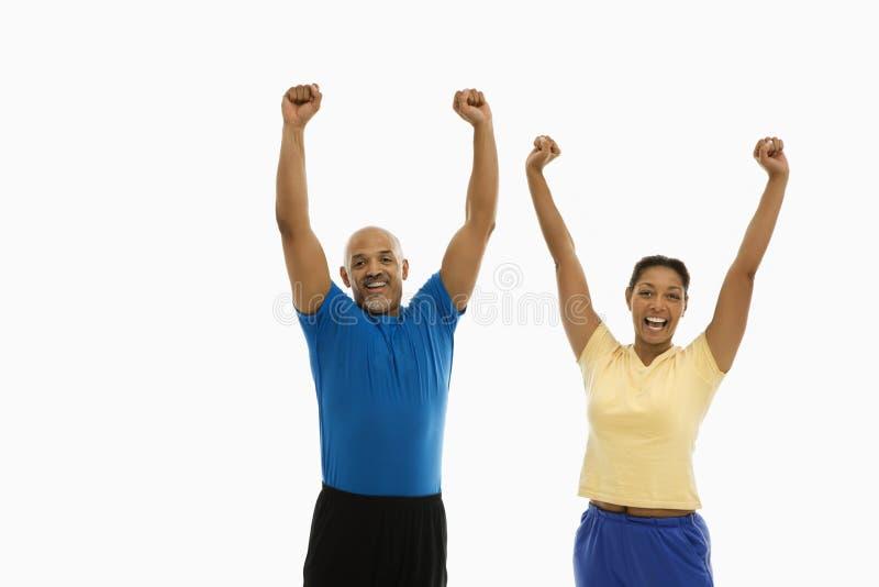 Enthousiaste man en vrouw. stock foto's