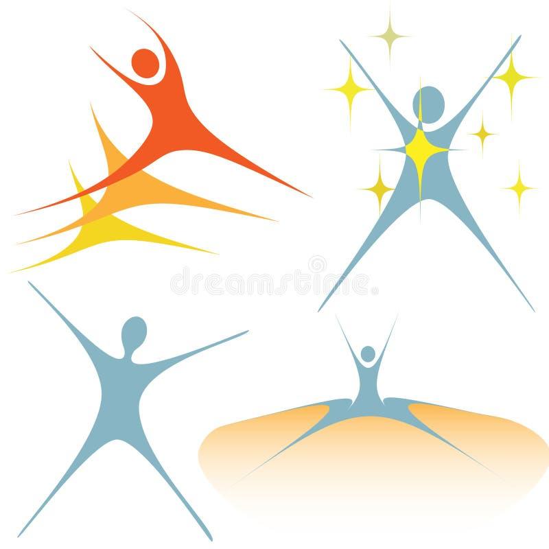 Enthousiaste swooshmensen zoals reeks symbolen vector illustratie