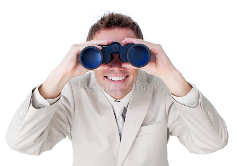 Enthousiaste zakenman die toekomstig succes voorspelt royalty-vrije stock afbeelding