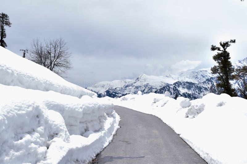 Enthralling mountain road of Leh Manali higway leading to Rohtang pass near Manali Himachal Pradesh stock photo