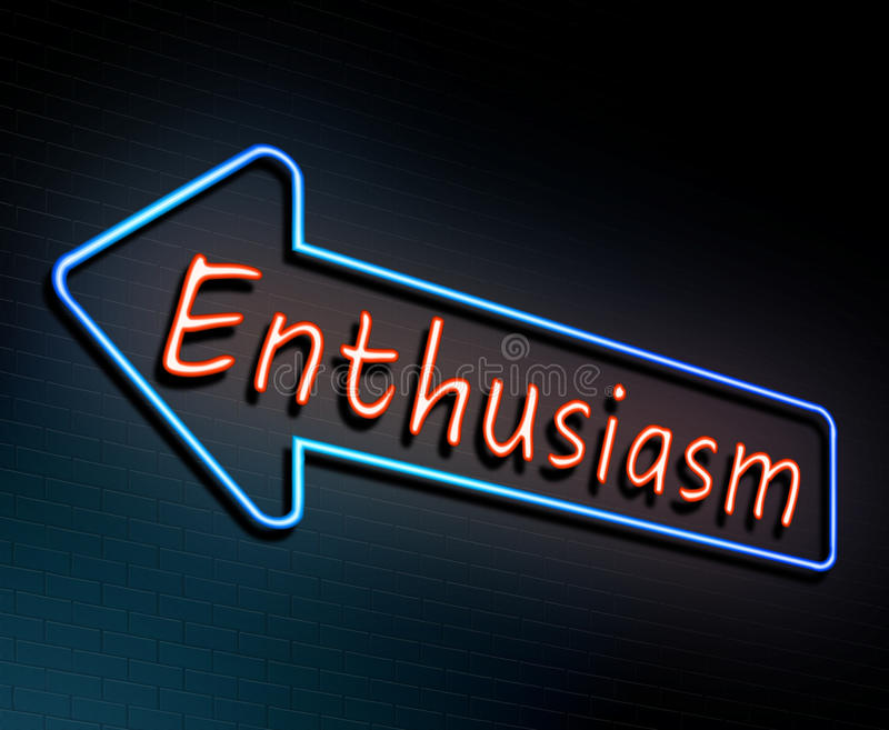 Enthusiasm neon concept. Illustration depicting an illuminated neon sign with an enthusiasm concept royalty free illustration