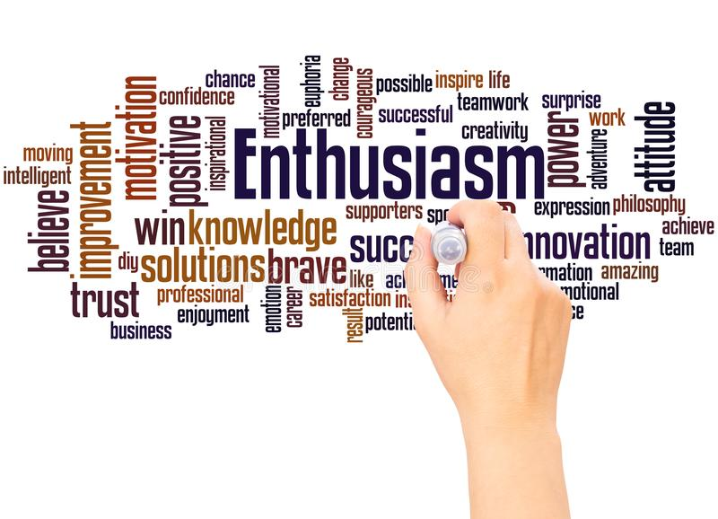 Enthusiasm word cloud hand writing concept. On white background stock image