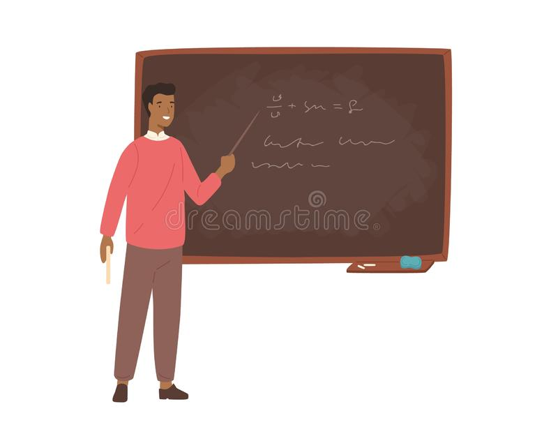 Enthusiastic African American male school teacher, college professor or lecturer standing beside chalkboard, holding vector illustration