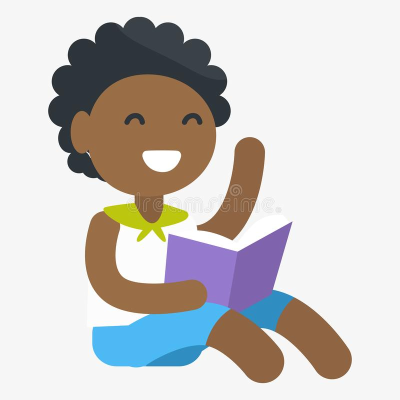Enthusiastic African Child with Book in Hand. Enthusiastic African female child holding book in one hand. Vector graphic illustration of small girl getting royalty free illustration