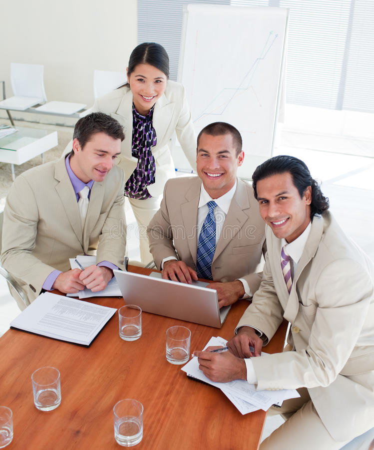 Download Enthusiastic Business Team Having A Brainstorming Stock Image - Image of meeting, desk: 12976171