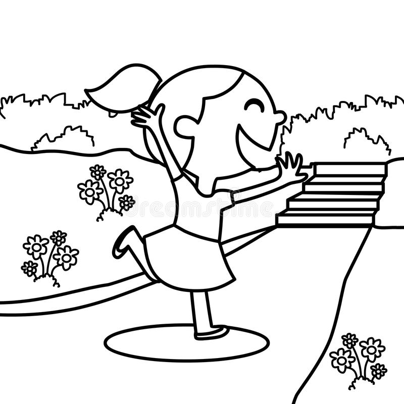 Enthusiastic girl coloring page. Hand drawn enthusiastic girl coloring page for kids stock illustration