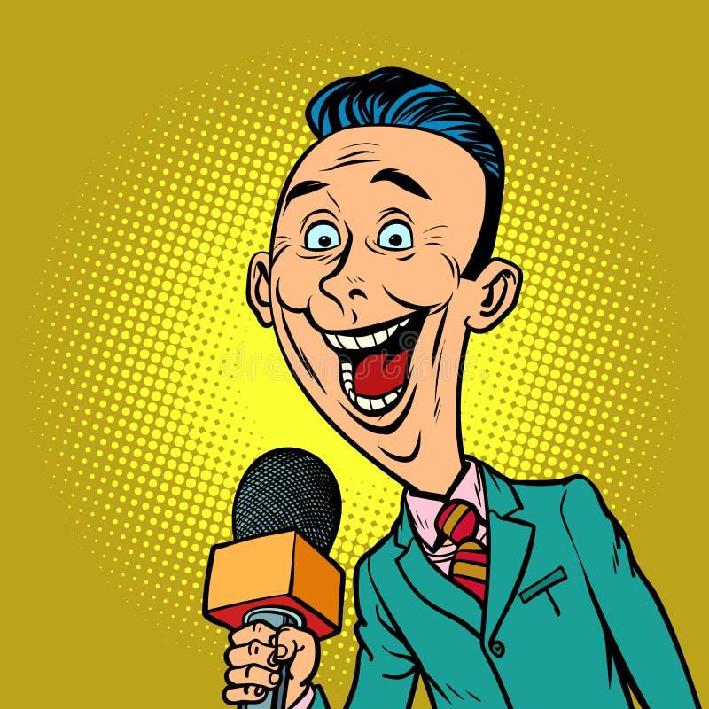 Enthusiastic joyful reporter correspondent journalist male. Television and radio, Internet broadcasting. Comic book cartoon pop art retro vector illustration vector illustration