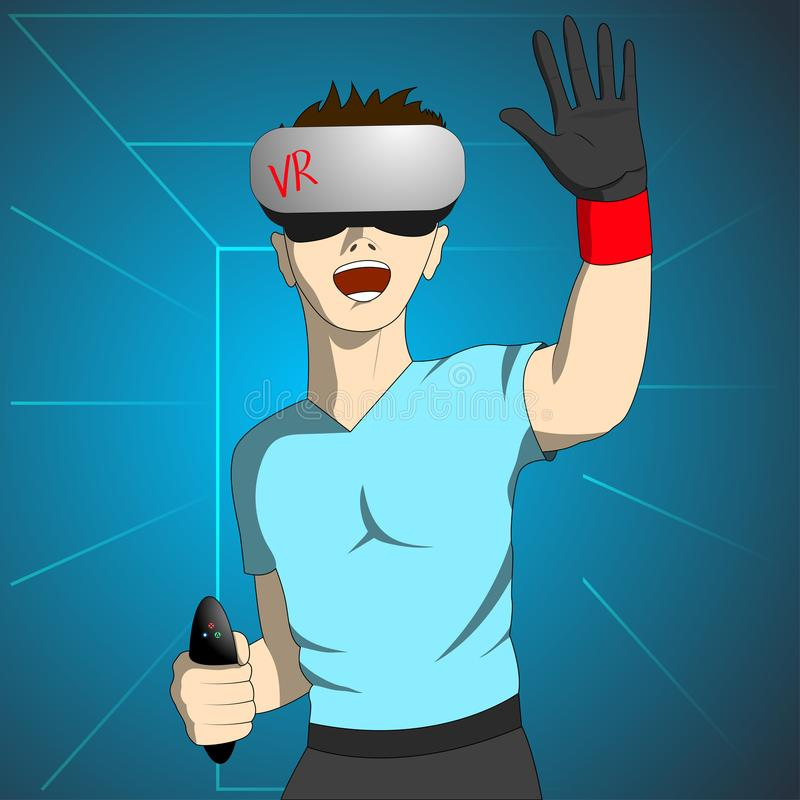 Enthusiastic man in virtual reality holds the remote and raising his hand. royalty free illustration