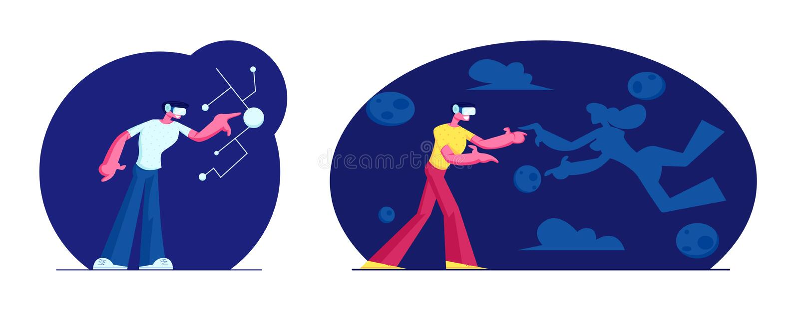 Enthusiastic Men Using Virtual Reality Glasses and Touching Vr Interface. Amazing Experience in Abstract Fantasy World royalty free illustration