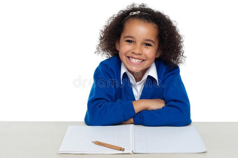Enthusiastic student paying attention in the class. Isolated on white background stock images