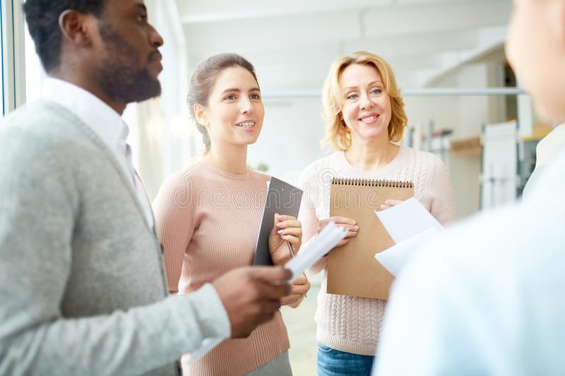 Project Discussion of Enthusiastic Managers stock photo