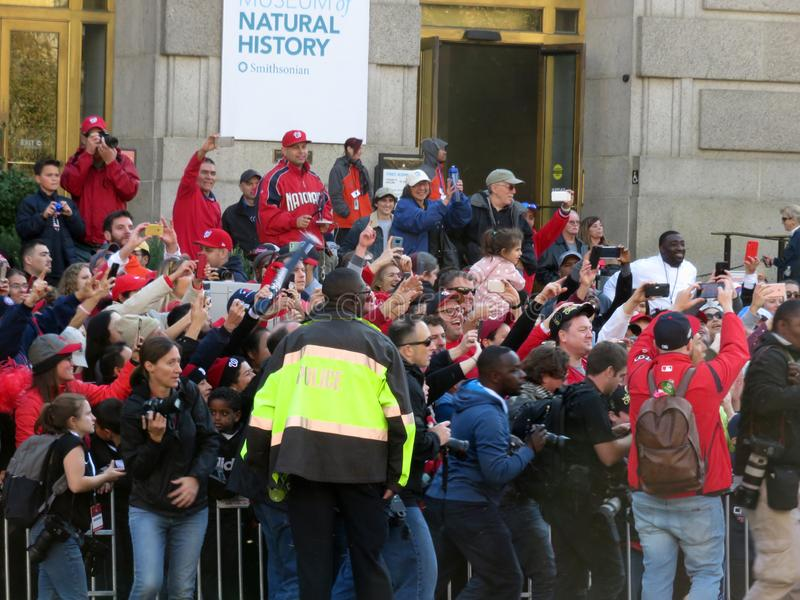 Enthusiastic Washington Nationals Fans at the Parade in Washington DC royalty free stock photography