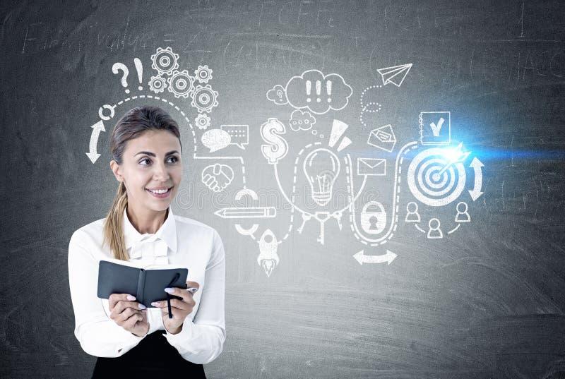 Enthusiastische Frau mit einem Hobel, Geschäftsentwurf lizenzfreies stockfoto
