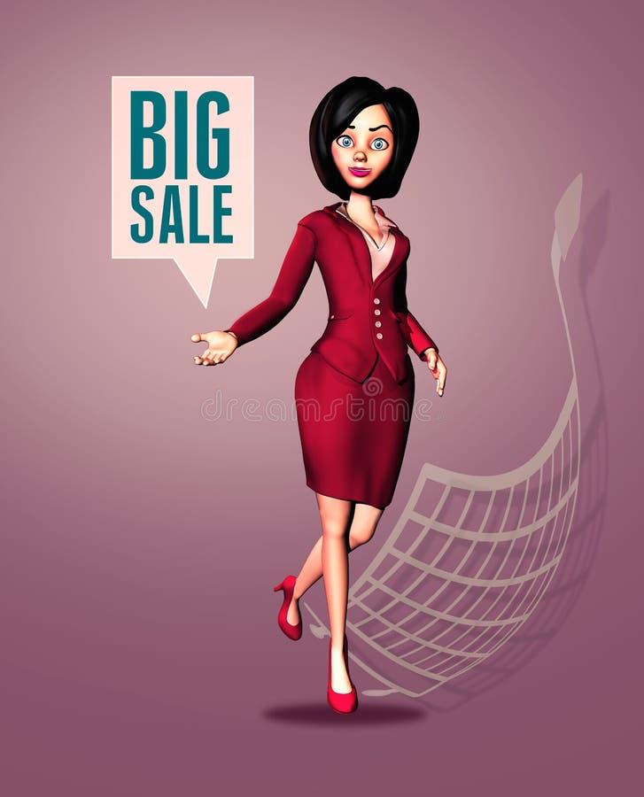 """Enthusiastisches Announces Big Sale-†der Geschäftsfrau-3D """"grafische Fahne stockfotos"""
