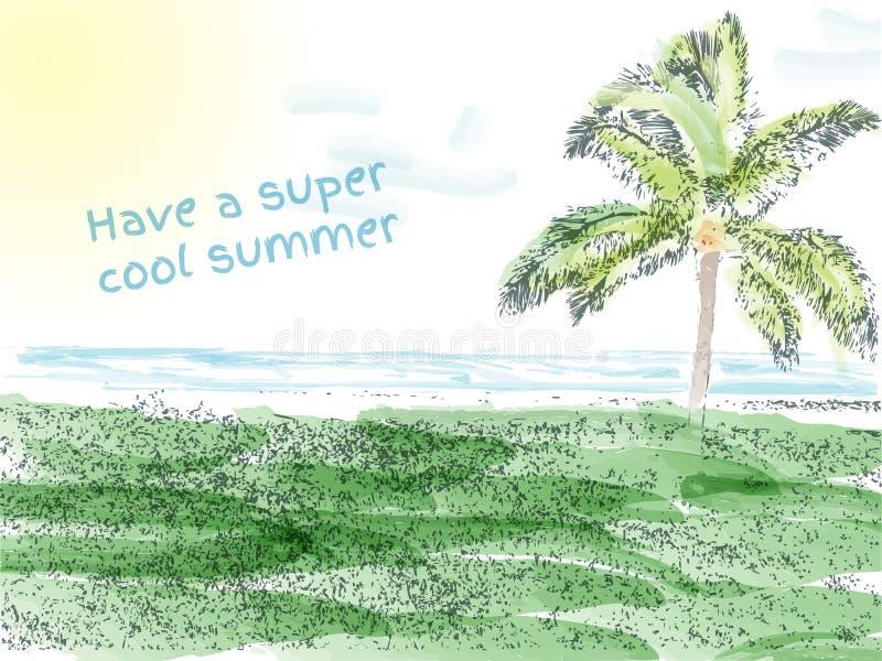 entièrement fond d'heure d'été avec l'aquarelle illustration de vecteur