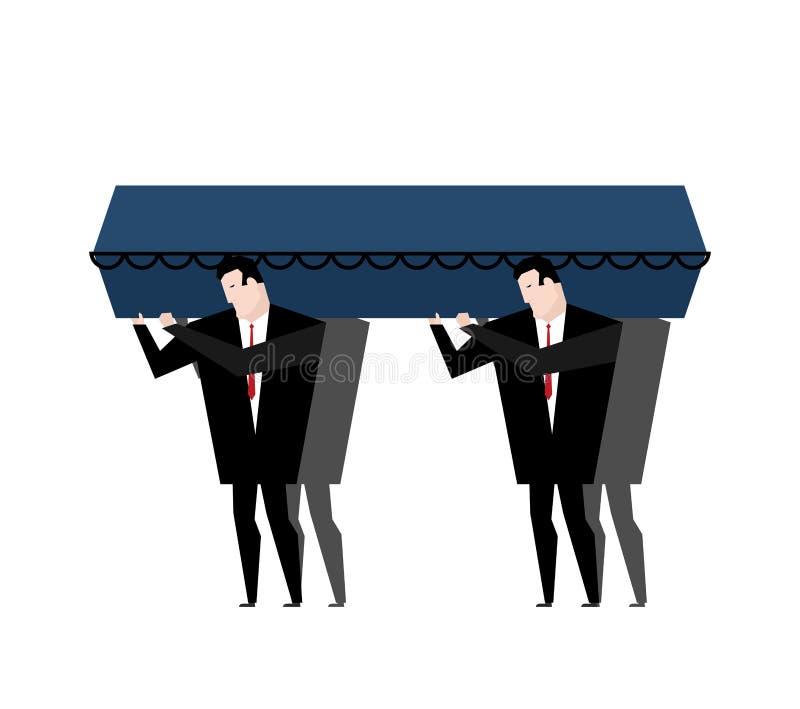 entierro Los hombres llevan el ataúd en su viaje pasado Ataúd de madera azul ilustración del vector