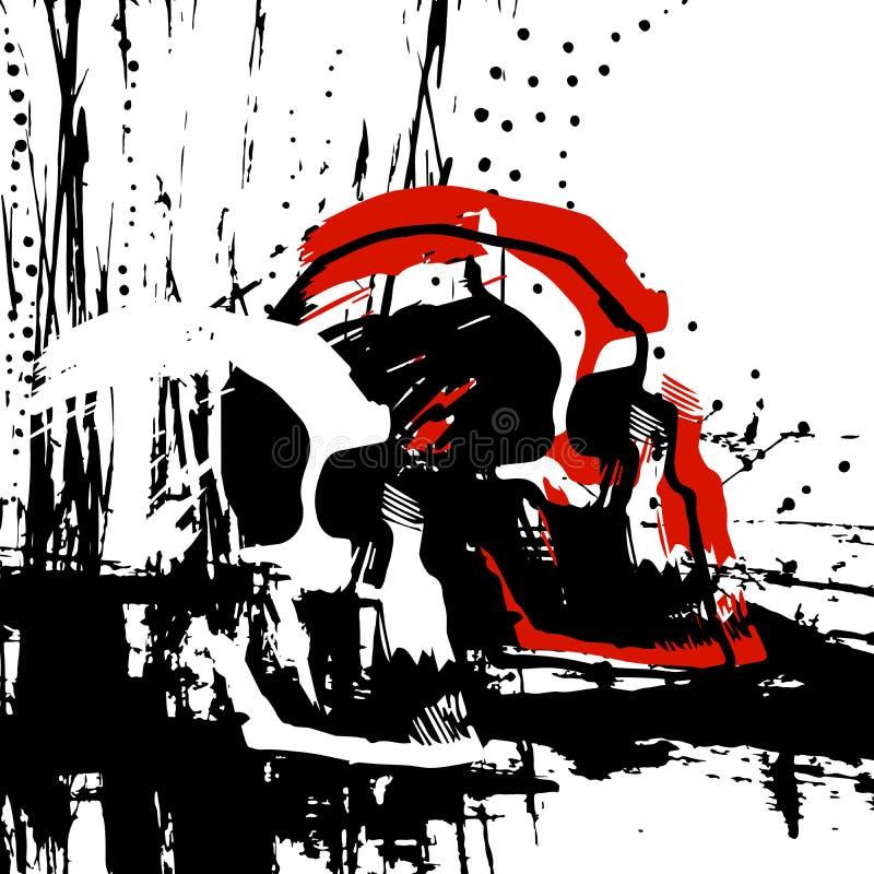 Entinte el cráneo exhausto en el perfil, tatuaje, camiseta del ejemplo libre illustration