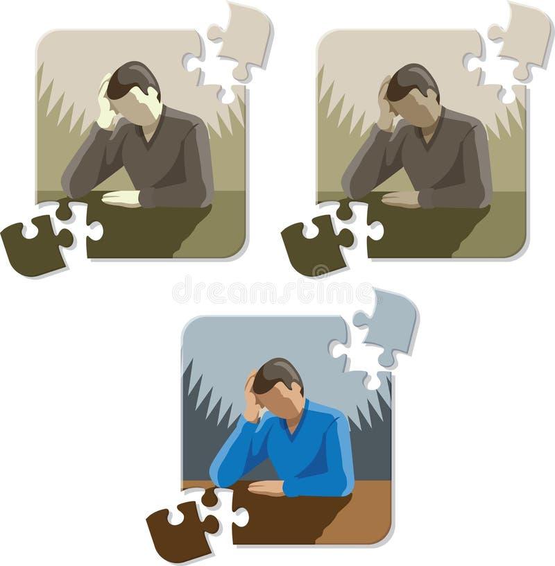 Entinte el dibujo de la depresión/del dolor de cabeza o subráyelo libre illustration
