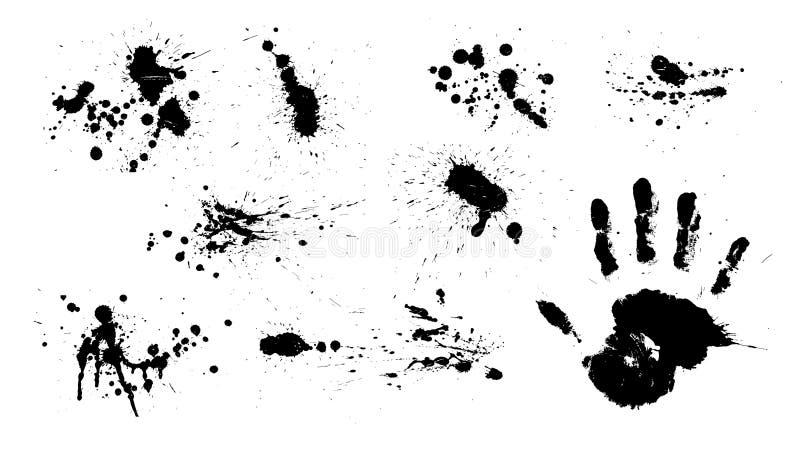Entinte la gota/el chapoteo de la pintura/la huella digital de la mano stock de ilustración