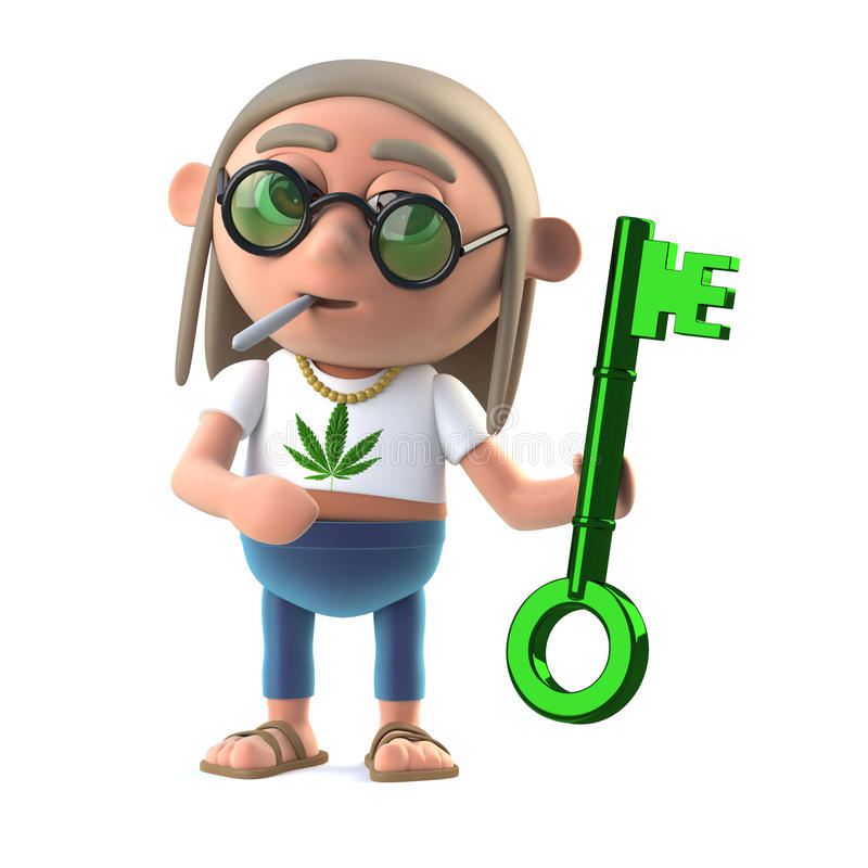 Entkerner der Hippie 3d hält einen grünen Schlüssel vektor abbildung