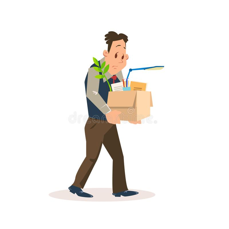 Entlassener trauriger Mann Carry Carton Box mit Eigentum stock abbildung