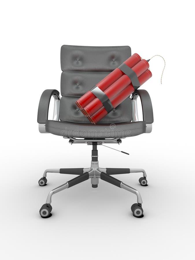 Entlassung des Managers. Dynamit auf Bürolehnsessel vektor abbildung