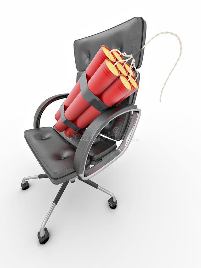 Entlassung des Managers. Dynamit auf Bürolehnsessel stock abbildung