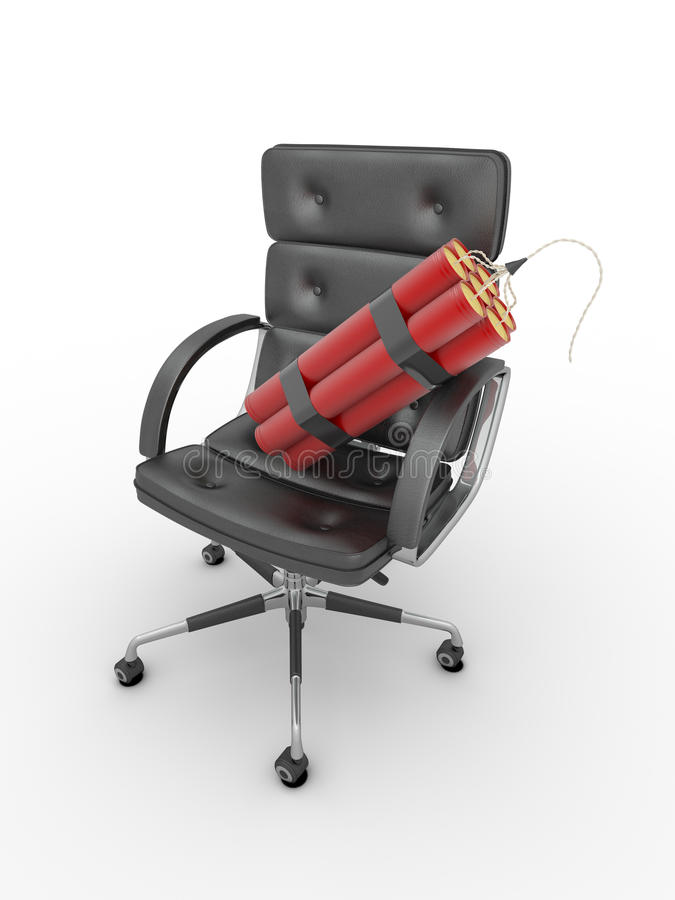 Entlassung des Managers. Dynamit auf Bürolehnsessel lizenzfreie abbildung