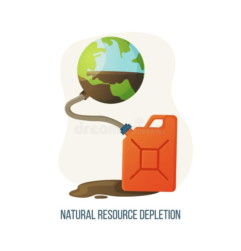 Entleerungs-Planet und Kanister der natürlichen Ressource lizenzfreie abbildung