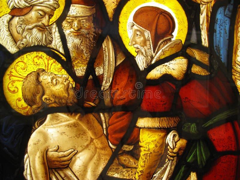 Entombment do vidro manchado medieval de Christ imagens de stock royalty free