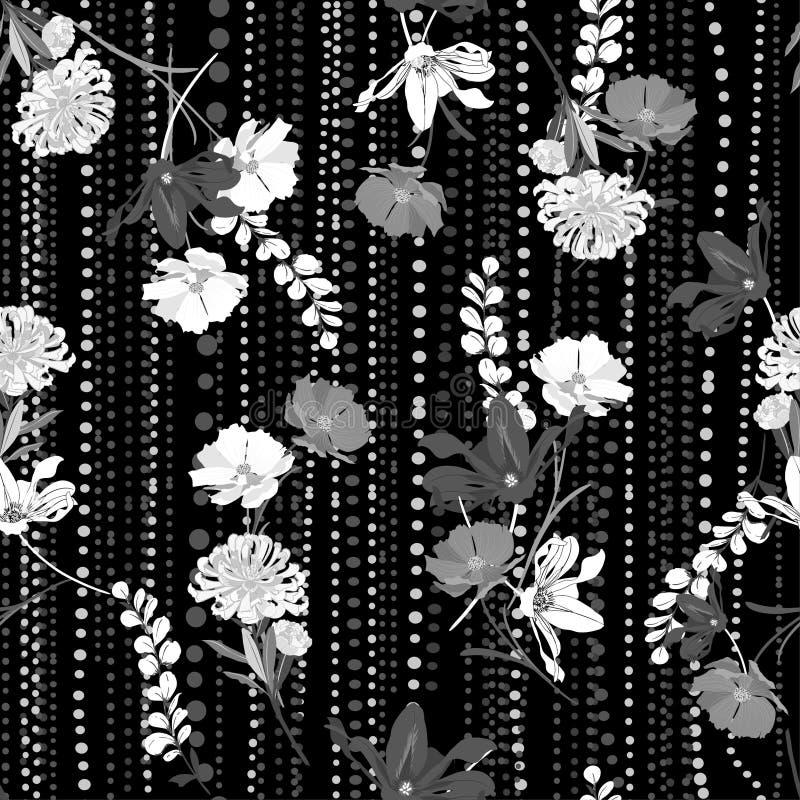 Entonig svartvit modern hand som drar den blom- sömlösa modellvektorn på och polkadotslinjen trädgårdlynne royaltyfri illustrationer