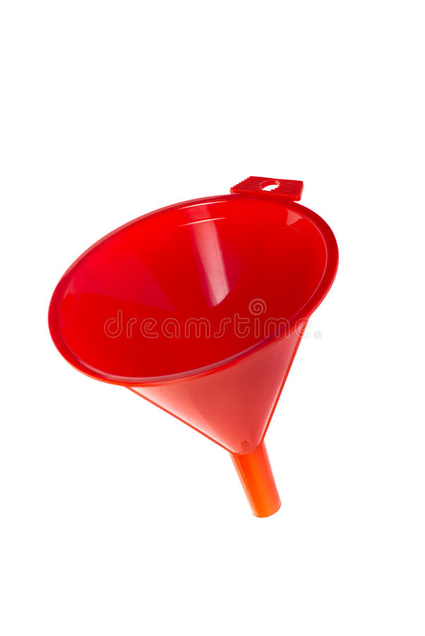 Entonnoir en plastique rouge sur le fond blanc images libres de droits