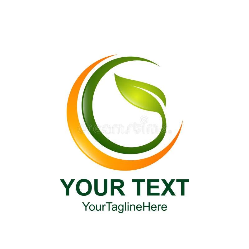 Entourez l'icône verte de vecteur d'élément de nature d'écologie de feuille Logo de feuille illustration de vecteur