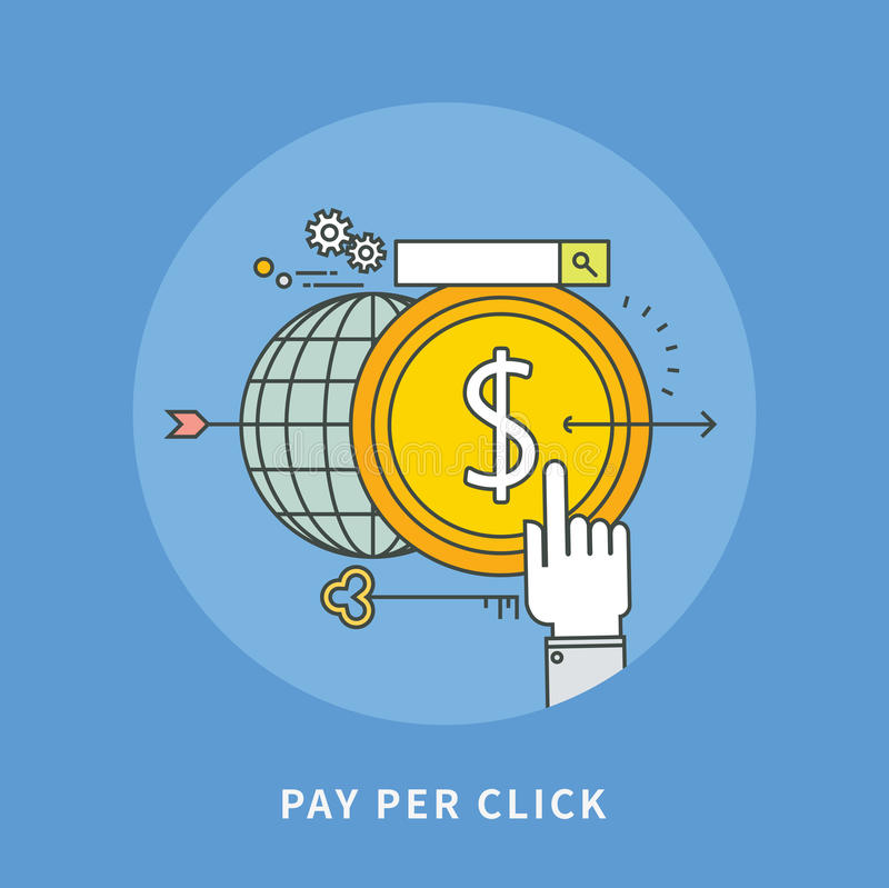 Entourez la discrimination raciale conception plate du salaire par clic, illustration moderne illustration stock