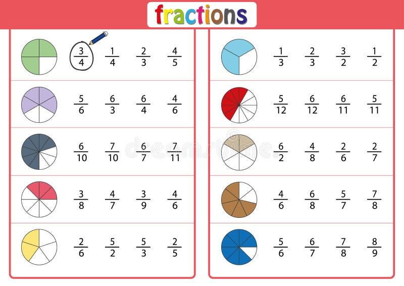 entourez la fraction correcte, mathématiques, fiche de travail de maths illustration de vecteur