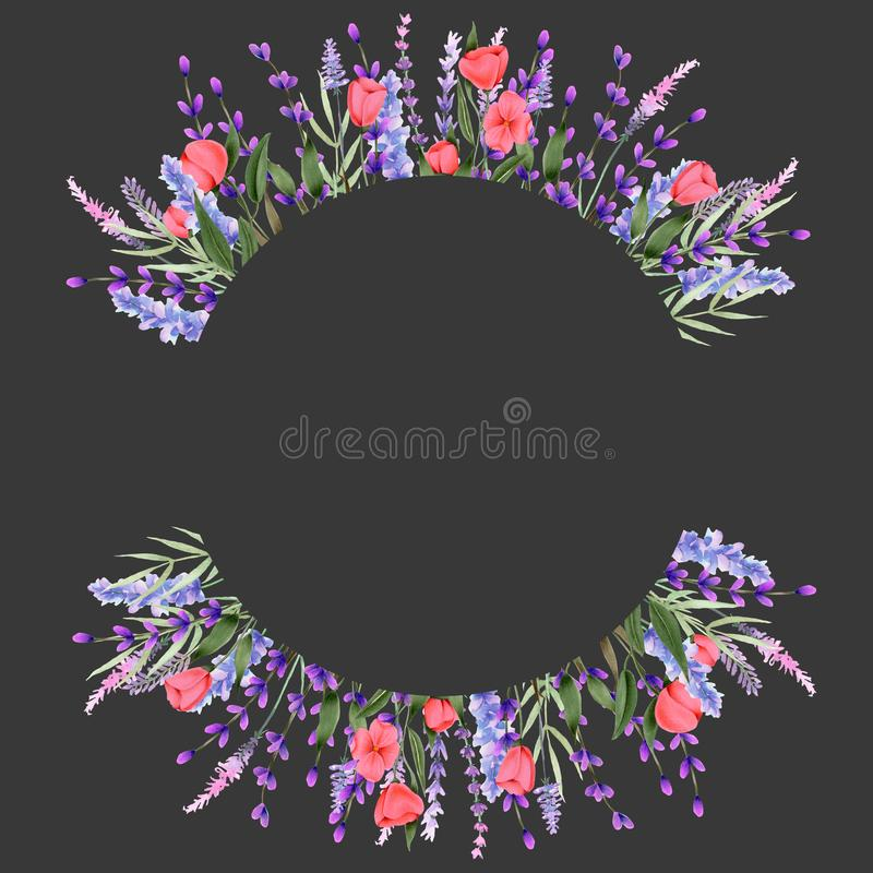 Entourez la frontière de cadre avec les wildflowers et la lavande de rose d'aquarelle illustration stock