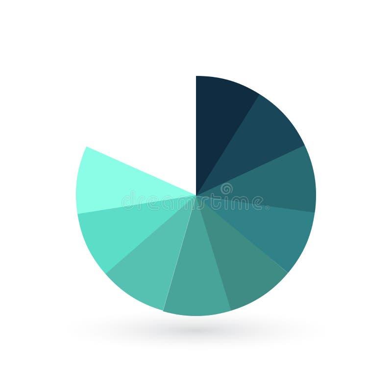 Entourez le calibre infographic de diagramme avec 9 options pour des présentations, la publicité, dispositions, rapports annuels  illustration de vecteur