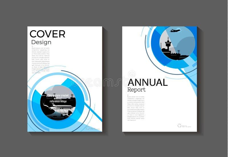 Entourez le calibre moderne de brochure de livre de couverture d'abrégé sur bleu couverture, illustration de vecteur