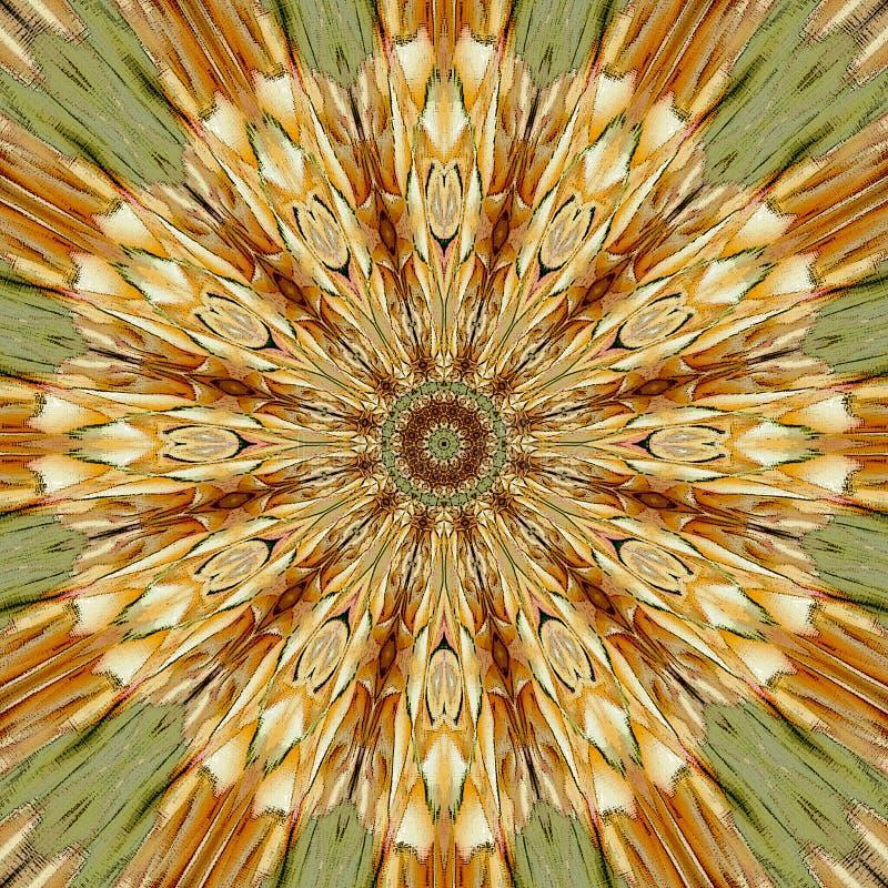 Entourez le mandala d'or avec la fleur d'arabesque au centre illustration libre de droits