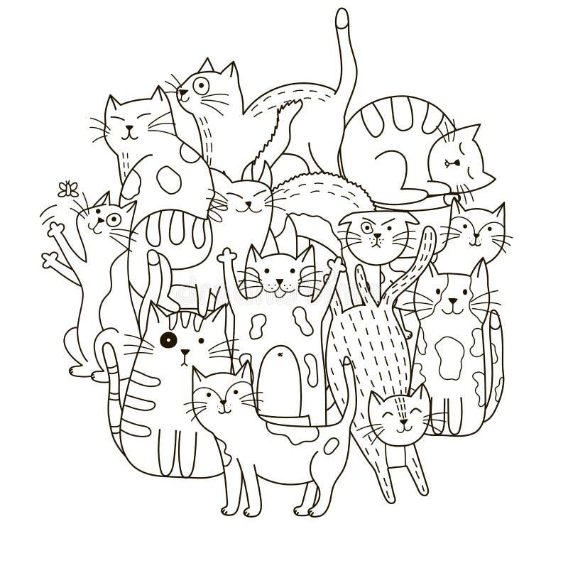 Entourez le modèle de forme avec les chats mignons pour livre de coloriage illustration de vecteur