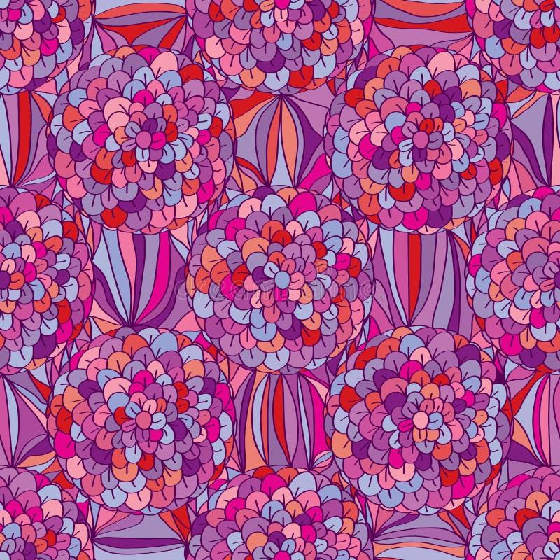 Entourez le modèle sans couture de couleur rose pourpre violette de fleur illustration de vecteur